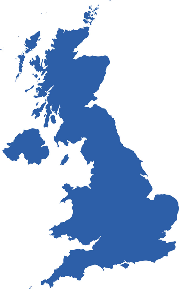 Map of the UK in Blue