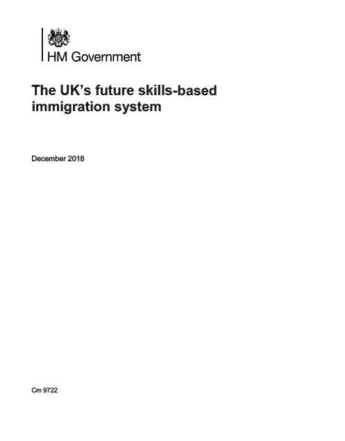 immigration white paper Dec 2018 front cover