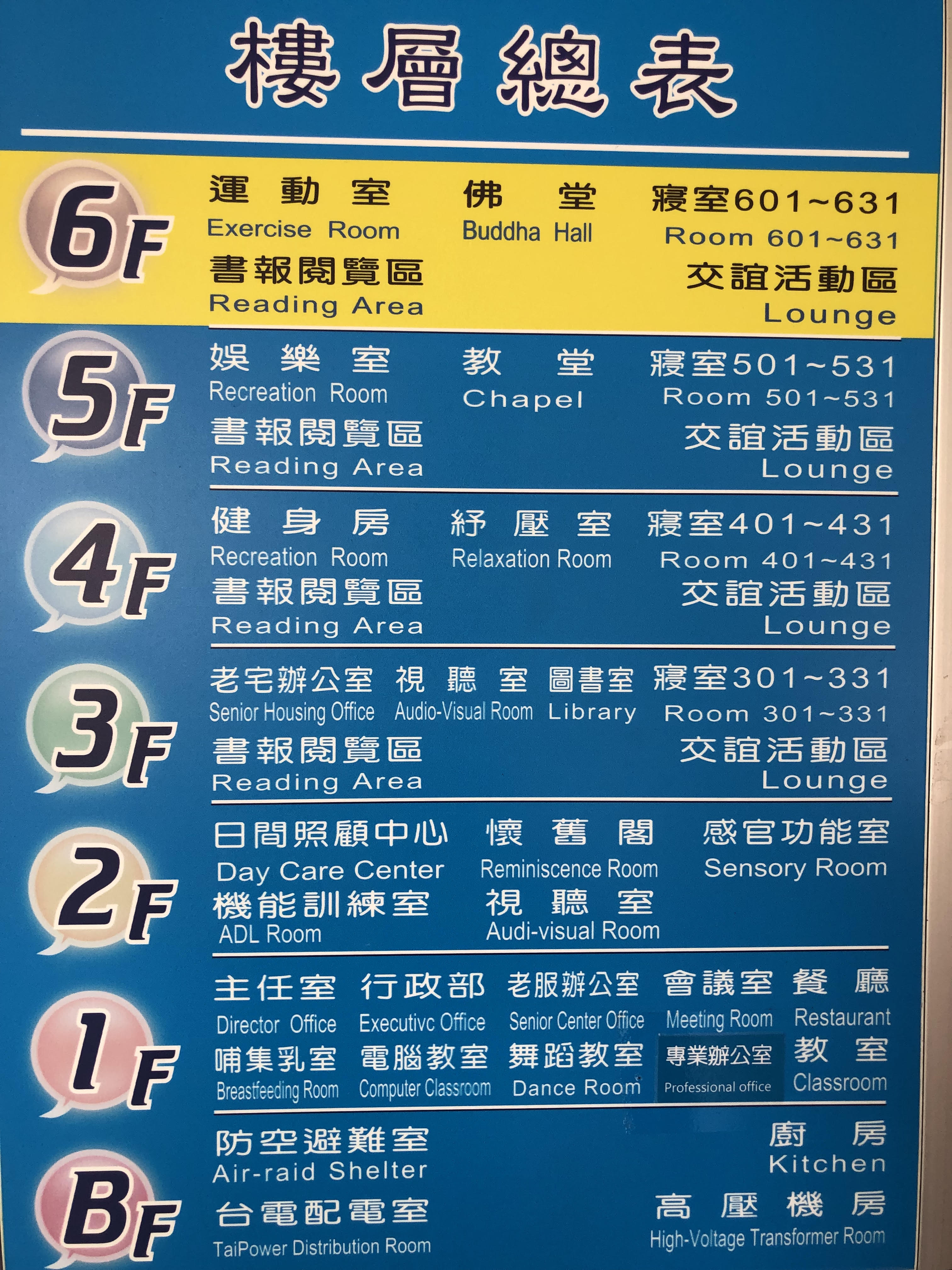 Poster at the Seniors Housing and Service Centre in Taiwan