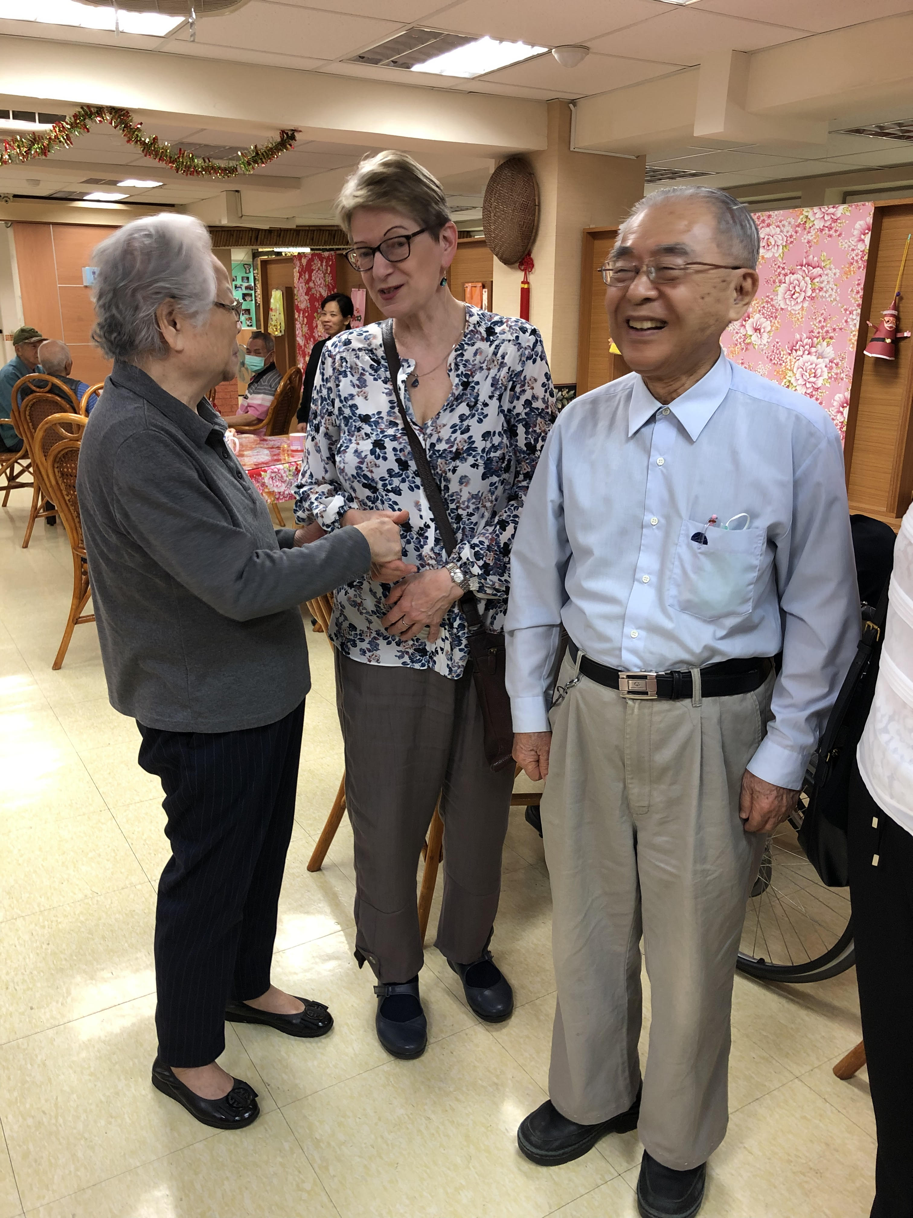 Sue Yeandle with service users at the Seniors Housing and Service Centre in Taiwan