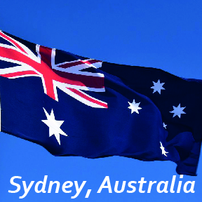 'Sydney, Australia' text on Australia national flag
