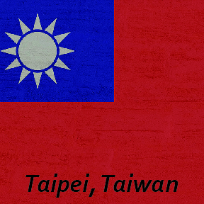 'Taipei, Taiwan' text on Taiwan national flag