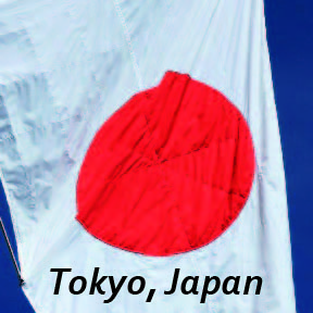 'Tokyo, Japan' text on Japan national flag