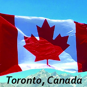 'Toronto, Canada' text on Canada national flag