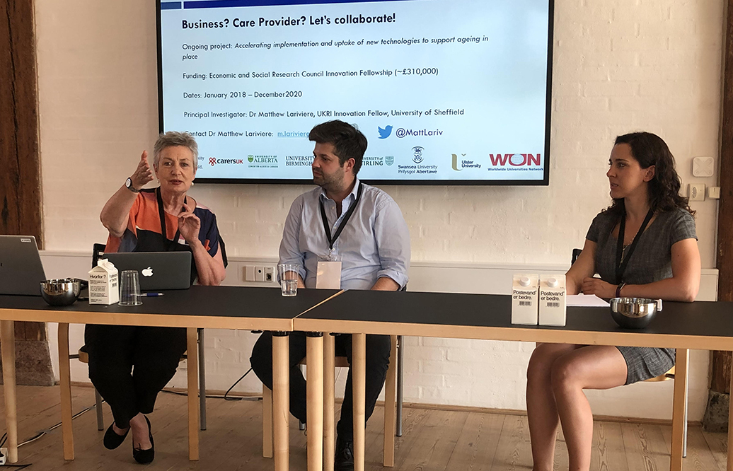 Kate O'Loughlin, Matthew Lariviere and Karla Zimpel-Leal presenting at the Transforming Care Conference in Copenhagen