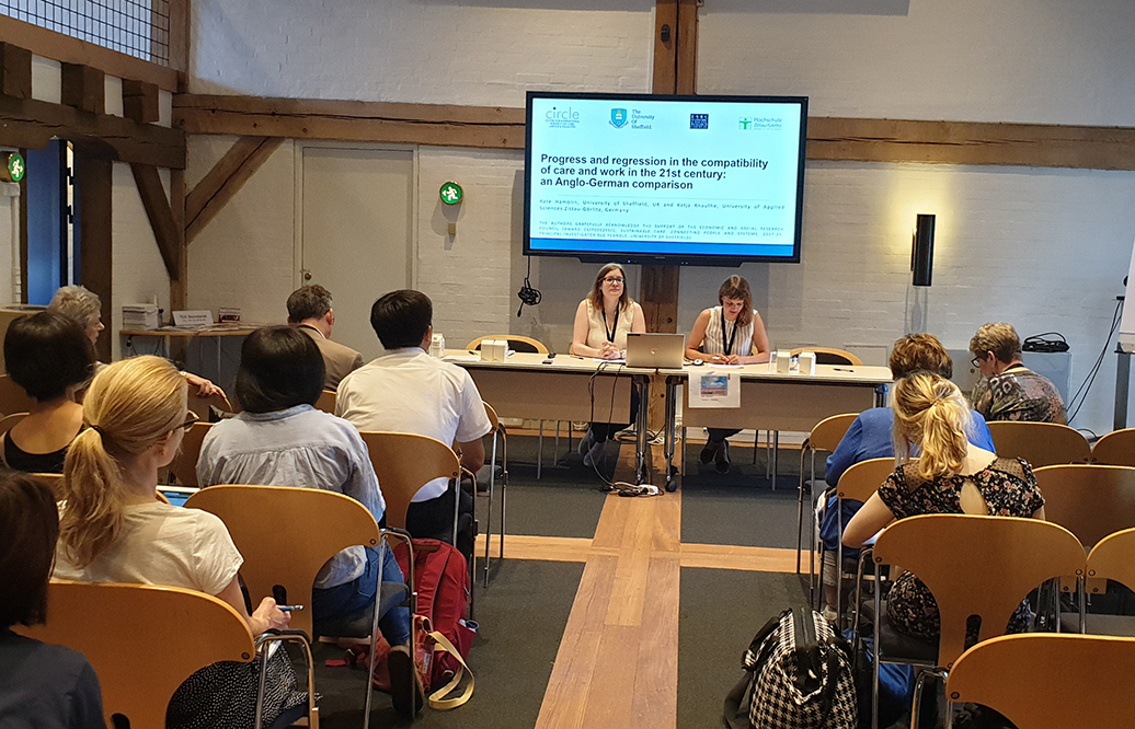 Kate Hamblin and Katja Knauthe presenting at the Transforming Care Conference in Copenhagen