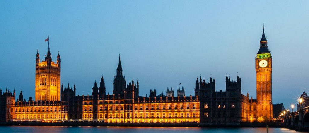Houses of Parliament lit up
