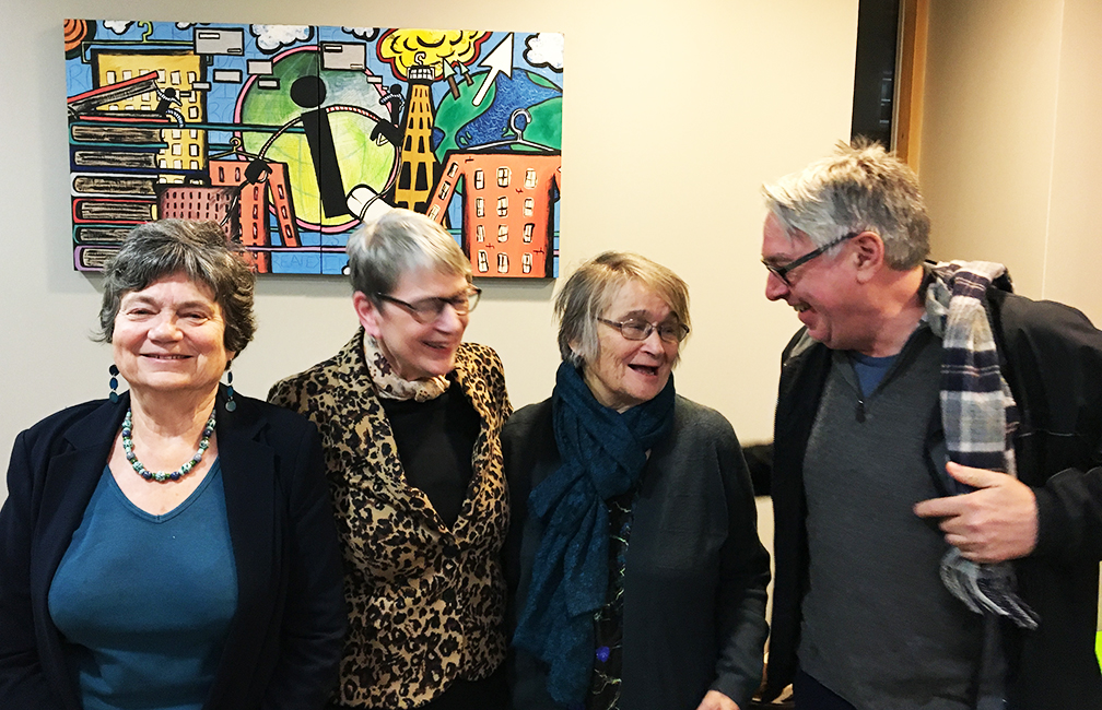 Sue Yeandle and Allister McGregor with Prof. Ruth Pearson & Prof. Sue Himmelweit Women's Budget Group