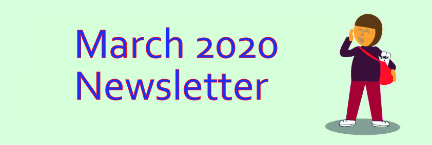 March Newsletter 2020 with cartoon paperboy