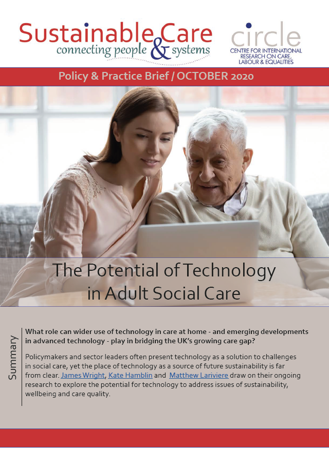 The potential of technology Policy Brief front cover