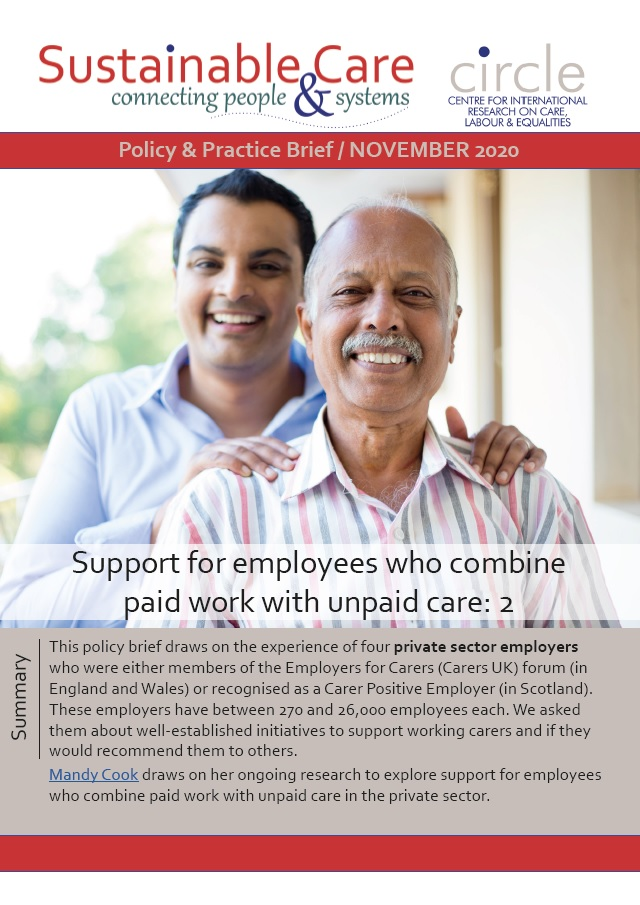 Support for employees who combine work with unpaid care 2