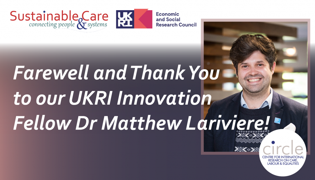 Farewell and Thank You to our UKRI Innovation Fellow Dr Matthew Lariviere!