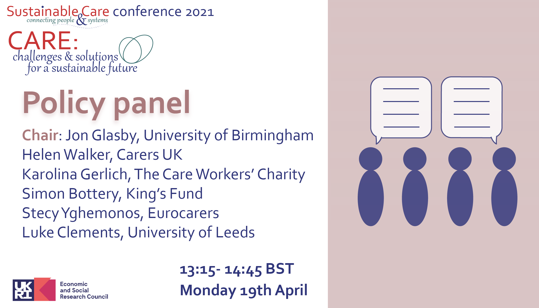 Policy panel Monday 19th April 13:15 BST