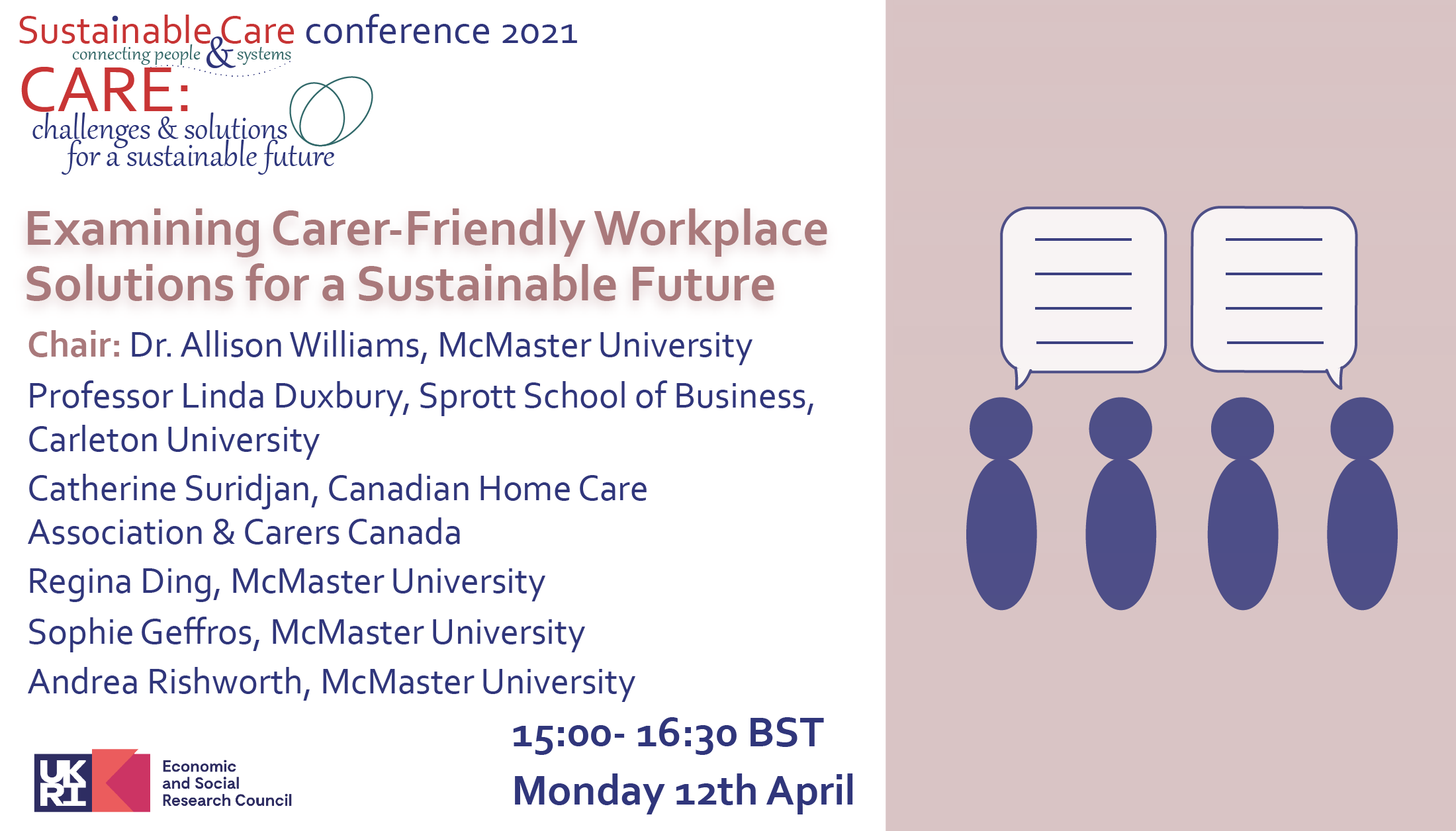 Examining Carer-Friendly Workplace Solutions for a Sustainable Future, 15:00- 16:30 BST Monday 12th April