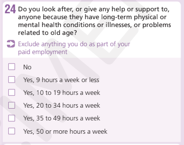 Question 24 in 2021 Census- how many hours of care